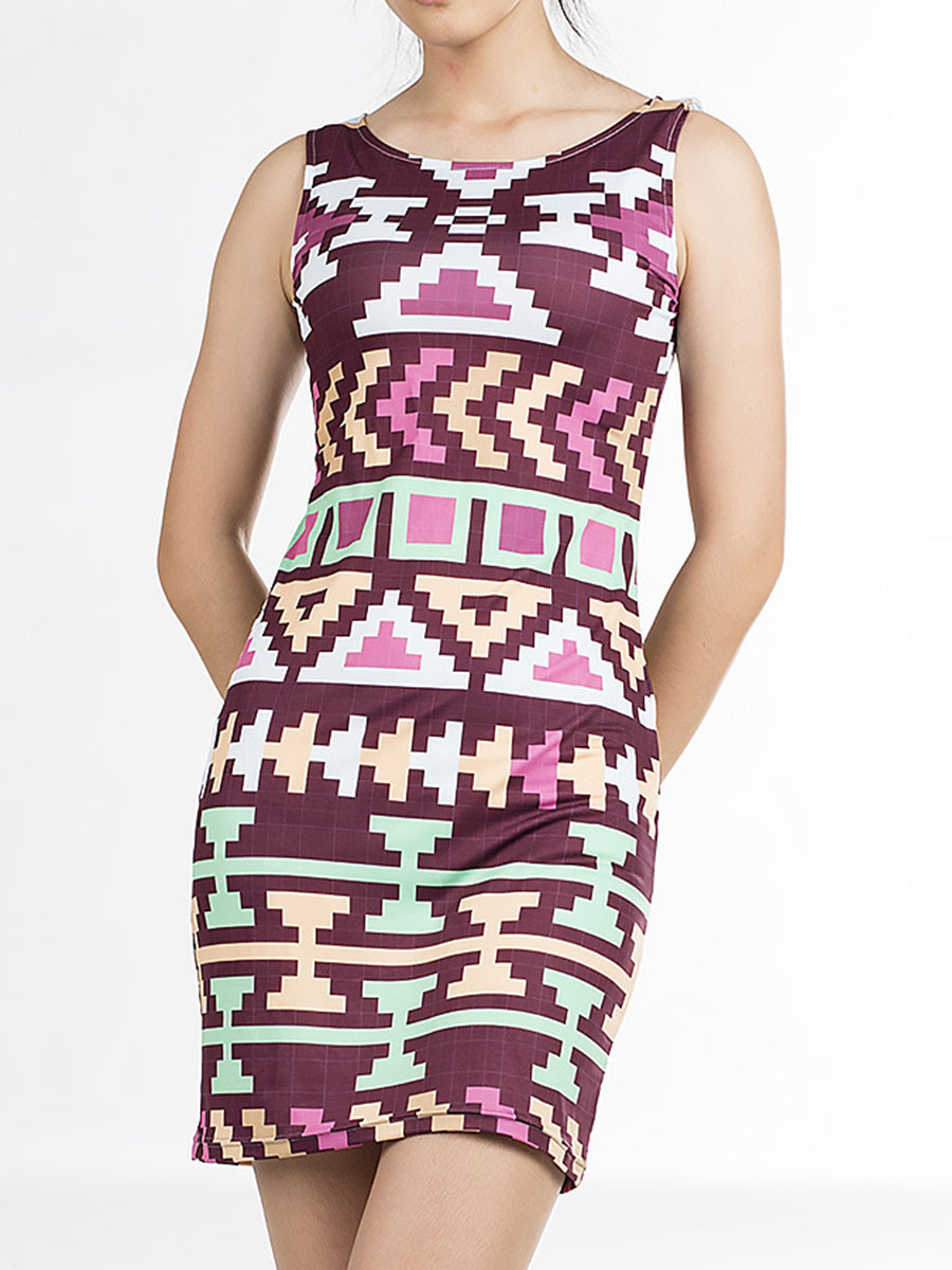 4929c5f549 Round Neck Abstract Print Bodycon Dress – hellocloth