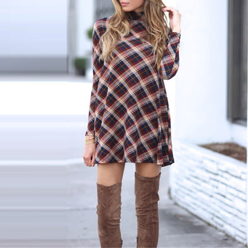 Plaid Printed Long-Sleeved High Round Collar A-Line Skater Dress