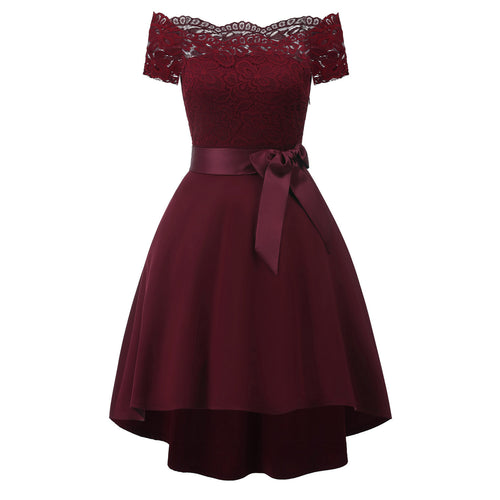 Strapless Collar Lace Stitching Bow Knot Belt Short-Sleeved Expansion Skater Dress