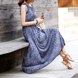 Bohemian Floral Printed Round Collar Sleeveless Long Vacation Dress