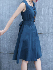 Round Neck Bowknot Plain Skater Dress