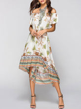 Off Shoulder Tribal Printed High-Low Elastic Waist Skater Dress