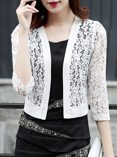 Decorative Lace  Plain  Three-Quarter Sleeve Cardigans
