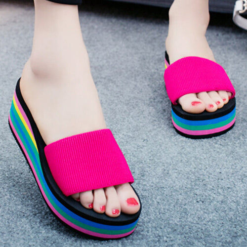 Mid Heeled  Peep Toe  Beach Casual Slippers