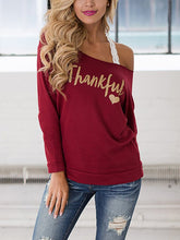 Boat Neck  Plain Printed Long Sleeve T-Shirts
