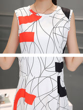 Round Neck Printed Color Block Skater Dress