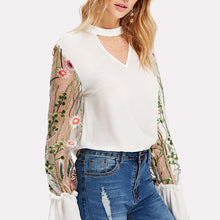 2018 Newest V-Neck Chiffon Embroidery Blouse