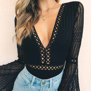 Sexy V Collar Pure Color Hollow Flare Sleeve  Bodysuit
