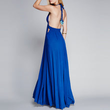 Bohemian Sexy Halter Pure Color Backless Vacation Dress