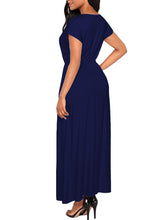 Asymmetric Neck  Elastic Waist  Plain Maxi Dress