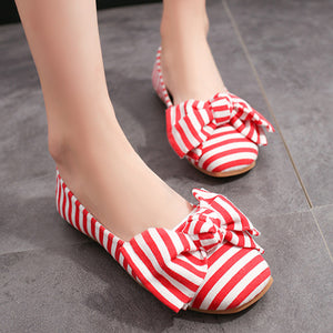 Vertical Striped  Flat  Round Toe  Casual Date Flat & Loafers
