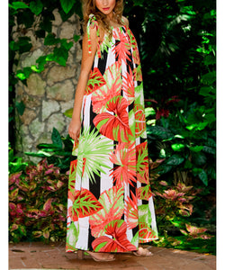 Bohemia Printed Irregular Beach Vacation Dress