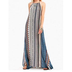 Bohemia Style Sleeveless Backless Long Vacation Dress