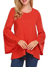 Autumn Spring  Cotton  Women  Round Neck  Asymmetric Hem  Plain Long Sleeve T-Shirts