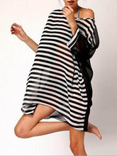 Black&White Stripes Loose Cover-Up Top