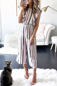 Fashion Striped Flutter Sleeves Wide Leg Jumpsuit