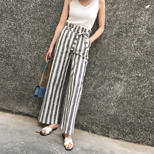 Stripe High Waist Loose Wide Leg Pants