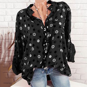 Casual Dot Printing Standing Collar Long Sleeve Shirt