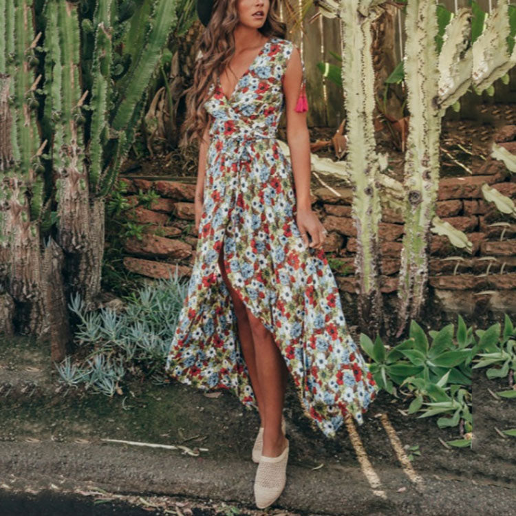 Bohemian Sexy V Collar Printing Sleeveless Vacation Dress