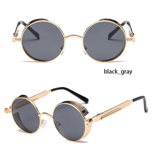Round Metal Sunglasses Steampunk Women Fashion Glasses Brand Designer Retro Vintage Sunglasses