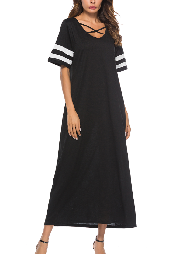 Casual Loose Pocket Maxi Dress