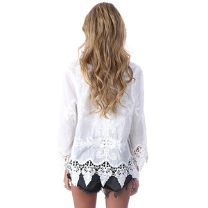 Bohemian Embroidery Hollow Lace Shirt