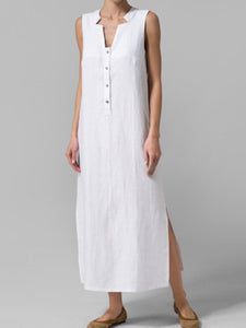 Asymmetric Neck  Decorative Buttons  Plain Maxi Dress
