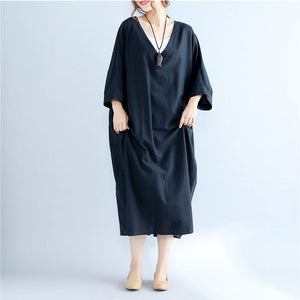 Batwing Sleeve Plus Solid Maxi Dress
