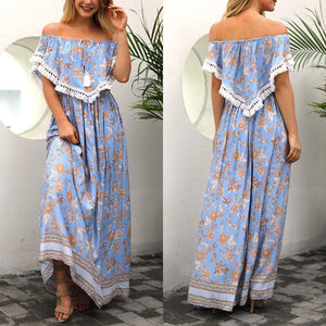 Bohemian Off Shoulder Printed Tassel Lace Up Vacation Dress