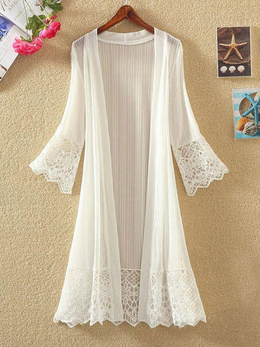 Collarless  Decorative Lace  Hollow Out Plain  Three-Quarter Sleeve Cardigans