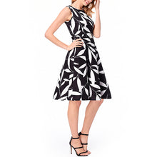 Boat Neck  Belt Leaf Prints Skater Dress