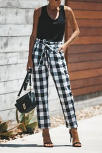 Belt Loops  Gingham  Casual Pants