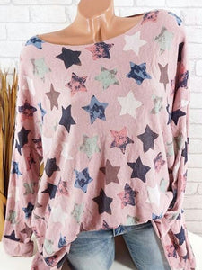 Autumn Spring  Cotton  Women  Round Neck  Printed Star Long Sleeve T-Shirts
