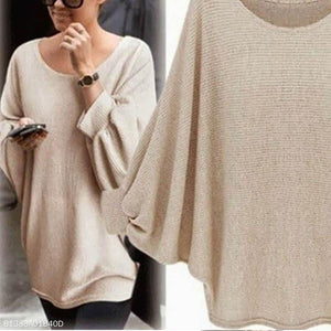Loose Round Neck Long Lantern Sleeve Sweater