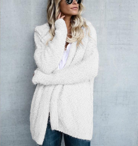 Hooded Long Sleeve Plain Cardigans