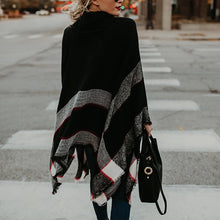 Turtle Neck Color Block Loose Knitting Cape