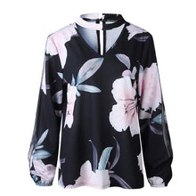 V Neck Hollow Out Long Sleeve Floral Printed Blouses
