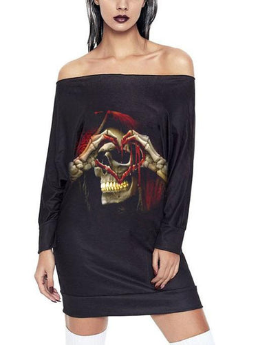 Halloween Skull Print Long-Sleeve Dress