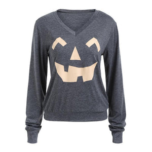 Halloween Pumpkin Smiling Face Long Sleeves T - Shirt