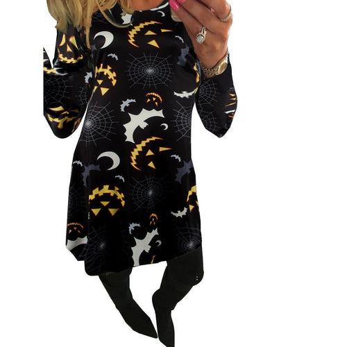 Halloween Moonlight Print Long Sleeve Dress