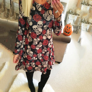 Halloween Skull Print Party Dresses