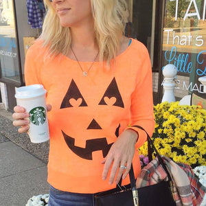 Halloween Print Long Sleeve Sweatshirt T-Shirt