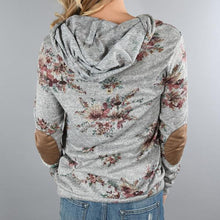 Casual Floral Printed Pullover Hooded Sweatshirt