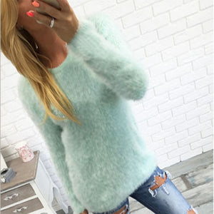 Solid Color Round Neck Long Sleeve Plush Sweater