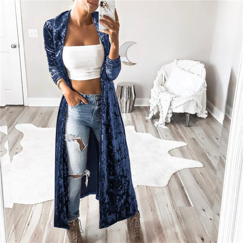 Fashion Pure Color Long-Sleeved Velvet Long Windbreaker