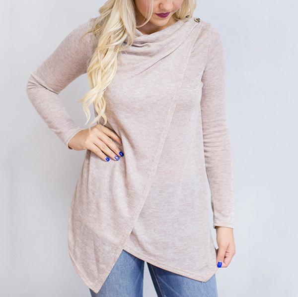 Fashion Irregular Split Long Sleeve T-Shirt