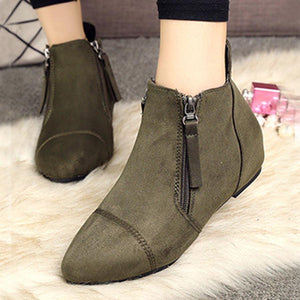 Plain  Invisible  High Heeled  Point Toe  Casual Outdoor  Ankle Ankle Boots