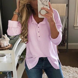 Fashion Solid Color Plain Long Sleeve T Shirt