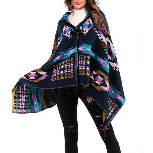 Hooded Geometrical Printed Tassels Capes