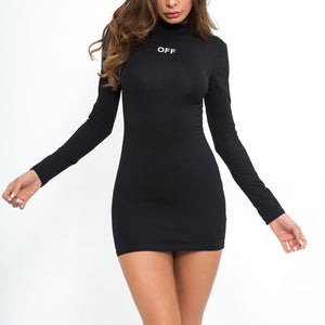 Fashion Sexy Long Sleeve Letter Print Bodycon Dress